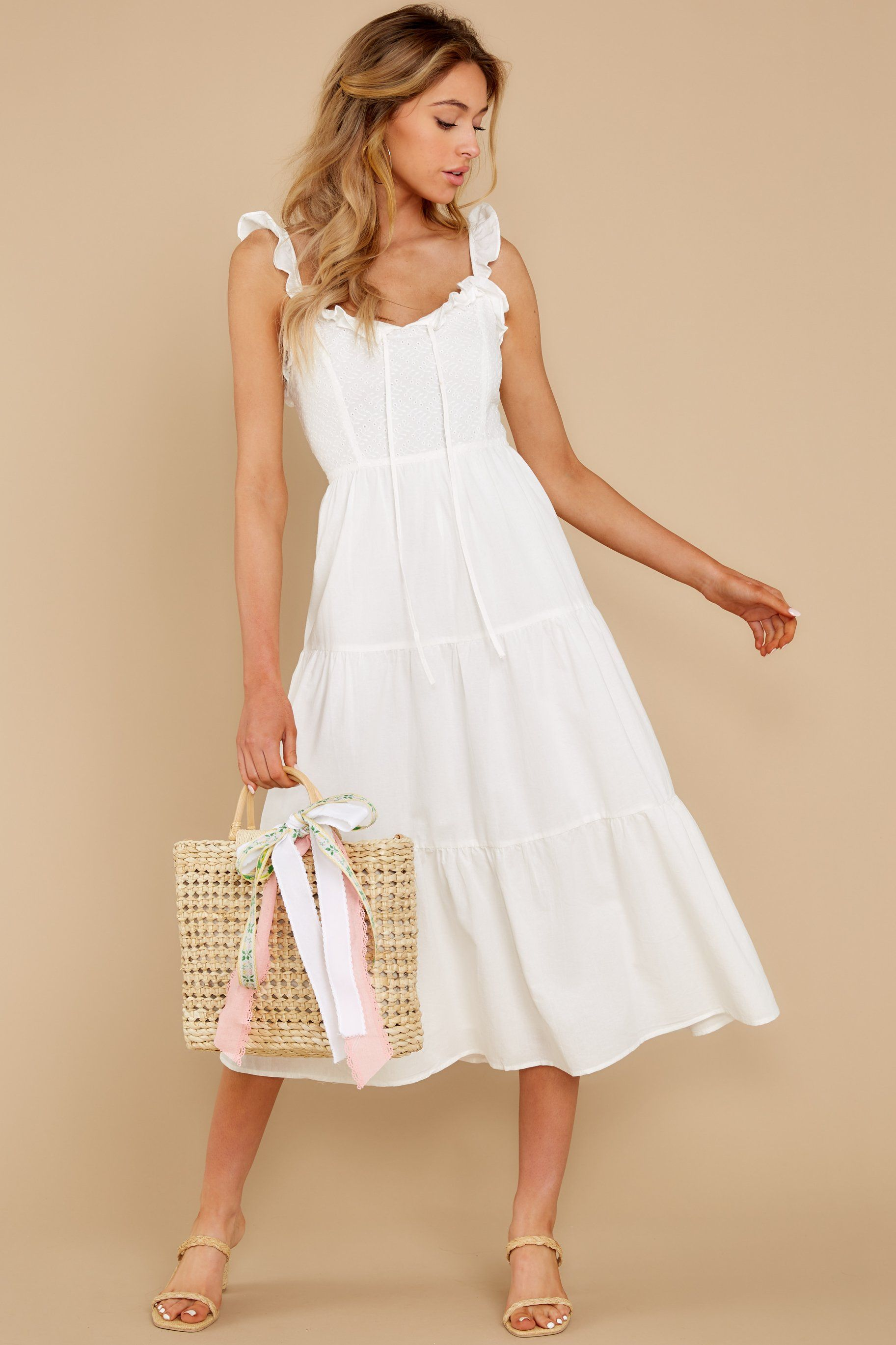 Angelic White Dress Eyelet Detail Ruffle Midi Dress Dresses 48 Midi Dress Red Dress Boutique Dresses [ 2738 x 1825 Pixel ]