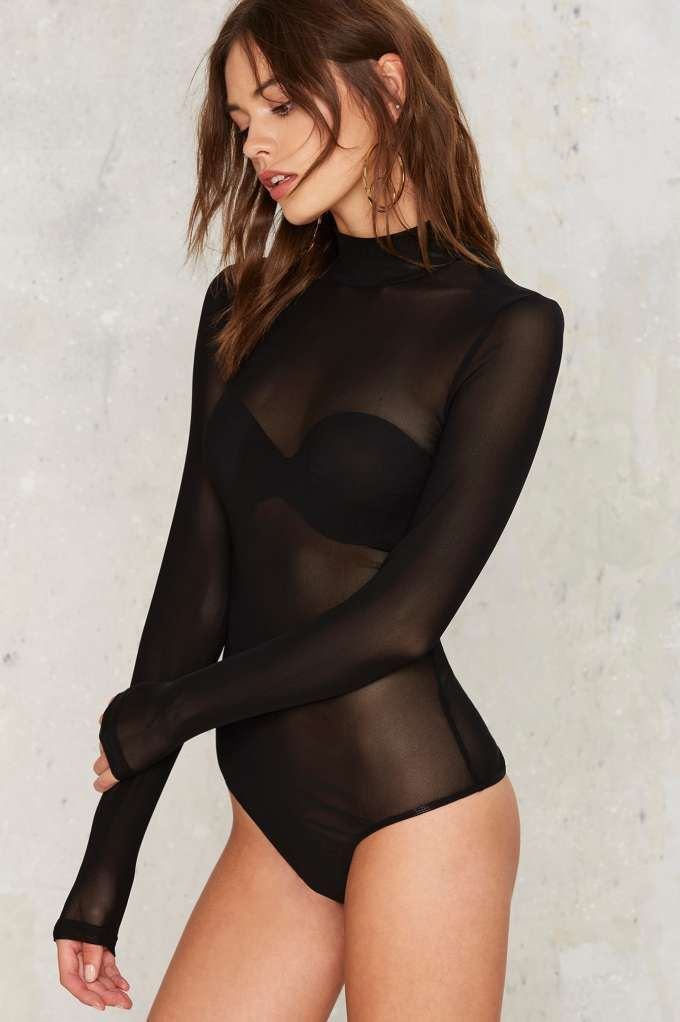 Mock Me Over Sheer Bodysuit - Clothes  6f2760583