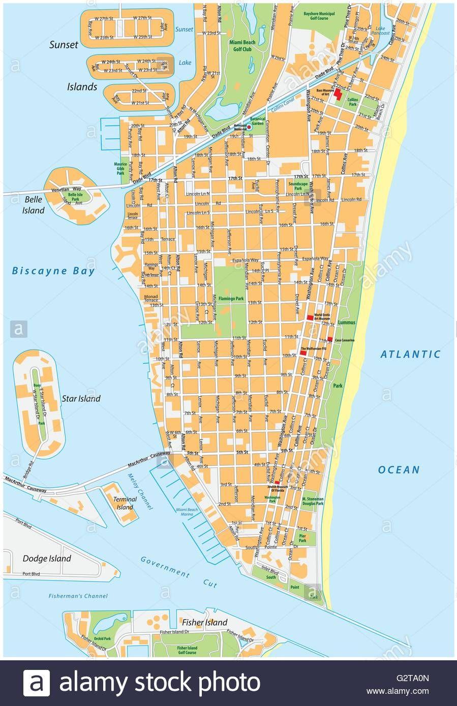 Mapa De Miami Beach Con Calles
