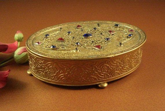 APOLLO STUDIOS Jeweled Trinket Jewelry Box 1920s Ormolu Treasure