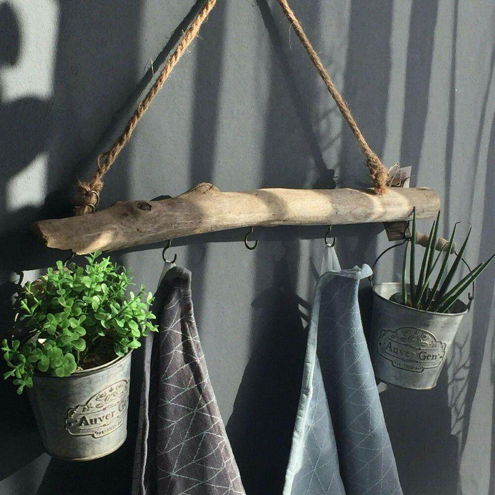 Holz Ast Garderobe Dekozweig Vintage Shabby Natur Ca 50 Cm Ebay