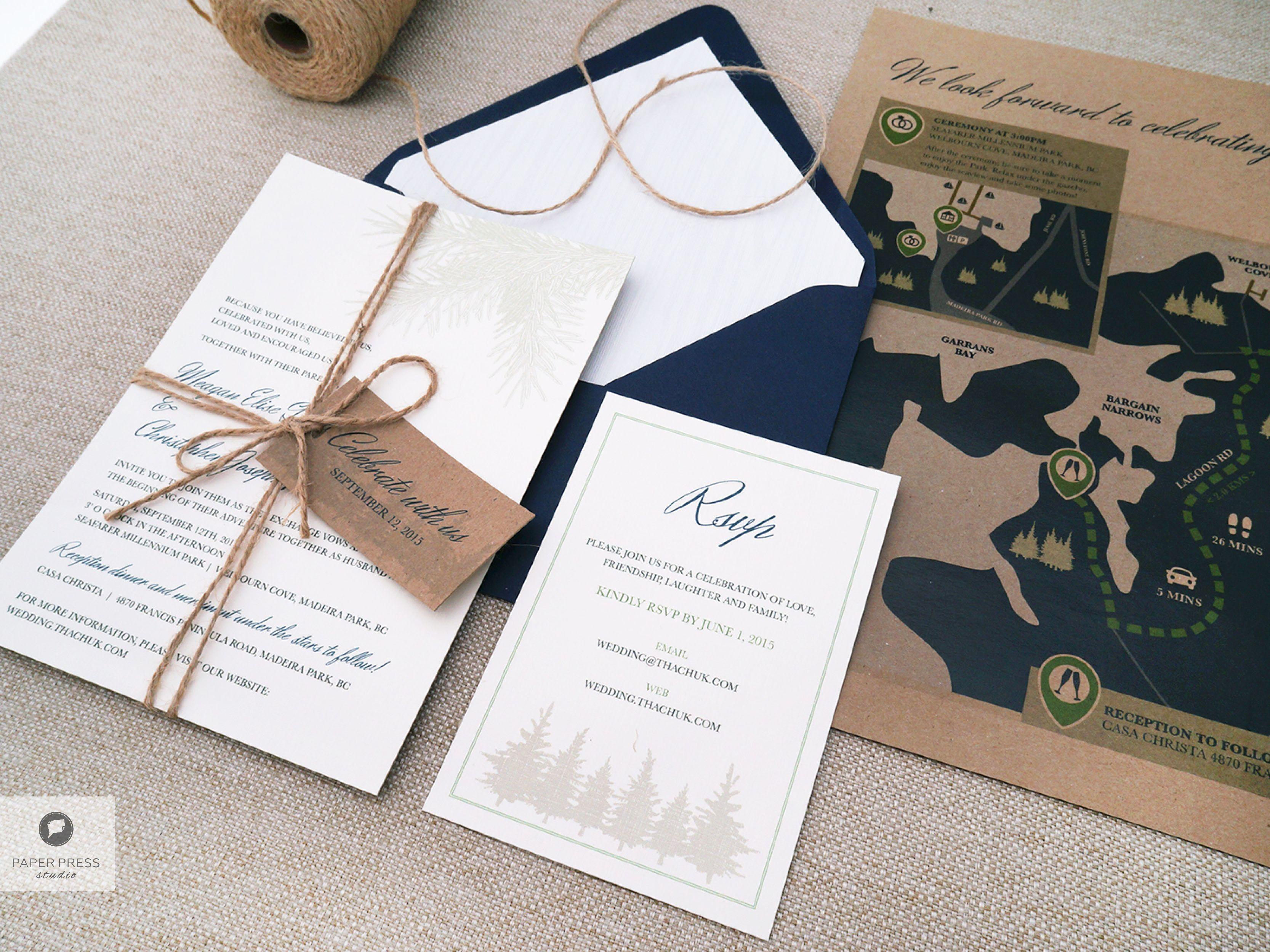 Navy + Kraft wedding invitation set, inspired by the landscape of ...