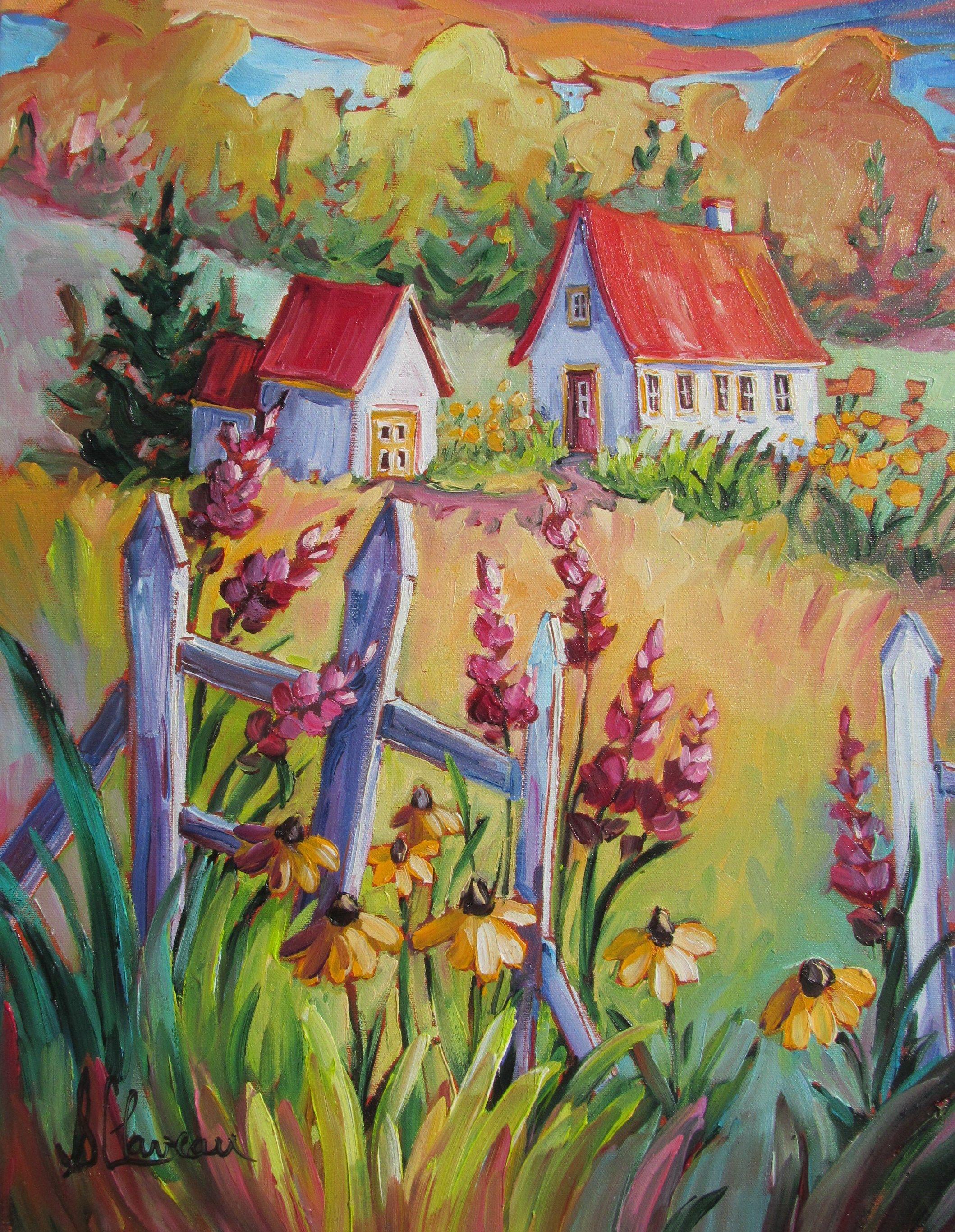paysages champ tres centre d 39 art suzanne claveau artiste peintre pinterest folk art. Black Bedroom Furniture Sets. Home Design Ideas