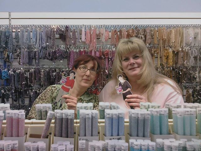 Here are Wendy (left) and Blanche (right) in the best bead shop ever, Beads by Blanche, in Bergenfield, NJ. This is the place to go for everything you need for bead weaving!