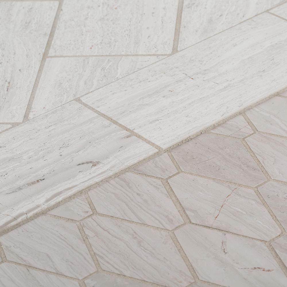 Jeff Lewis Melrose 10 3 8 In X 12 1 8 In X 8 Mm Limestone Mosaic Tile 98490 The Home Depot Limestone Flooring Wall Tiles Floor And Wall Tile