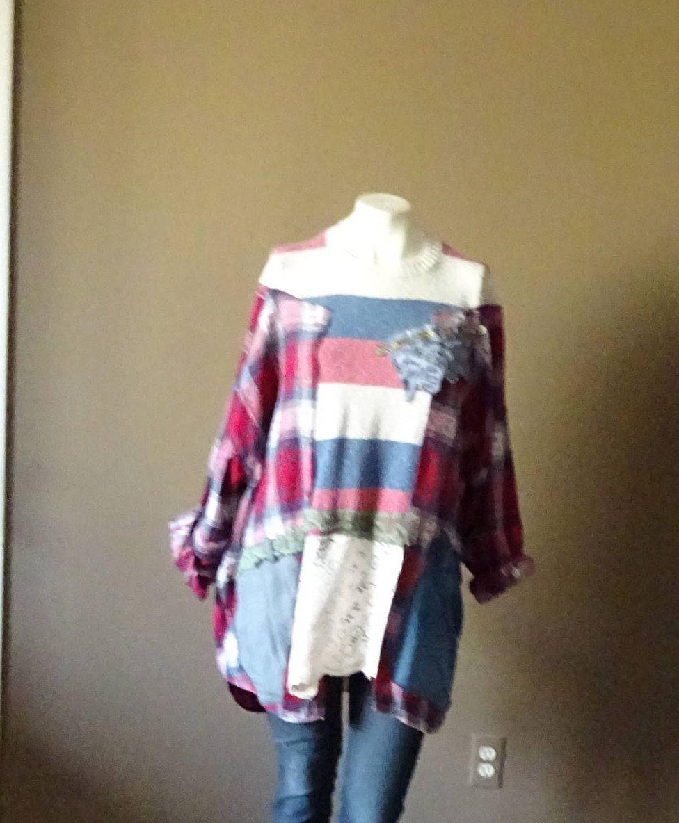 Plus size womens flannel shirt  Upcycled One Size Jacket Top Oversize Sweater Plus Size Kaftan Boho