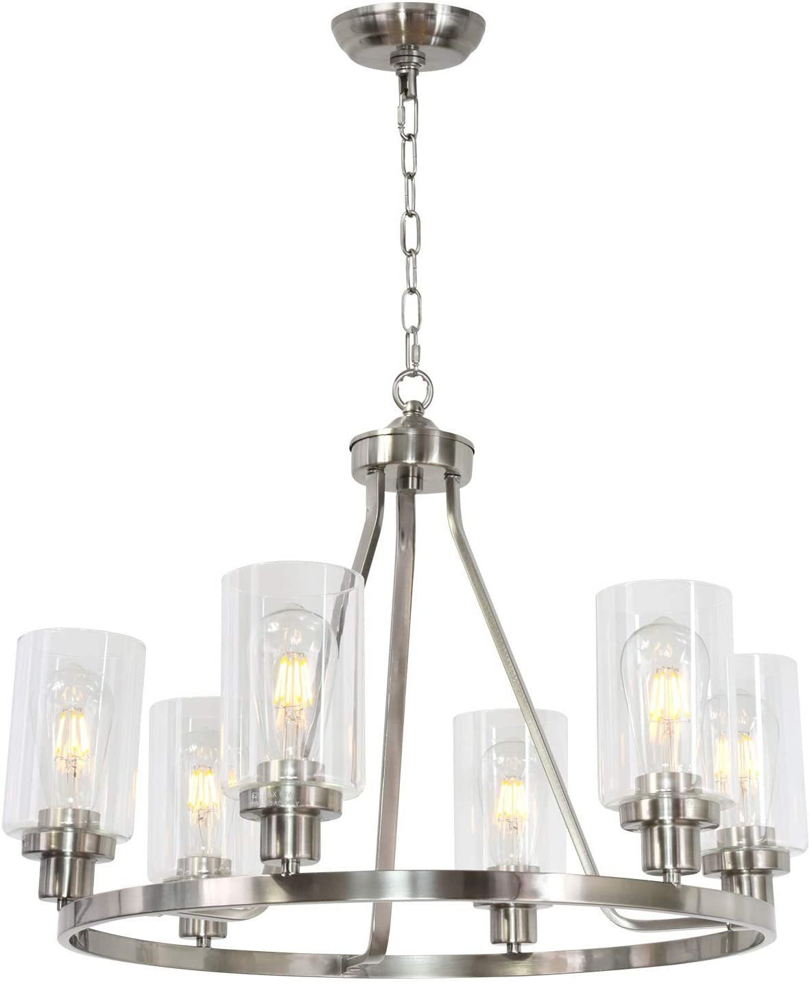 MELUCEE 6 Lights Round Chandelier Brushed Nickel Island Lighting Dining Room Lighting Fixtures Hanging Glass Pendant Light for Kitchen Living Room