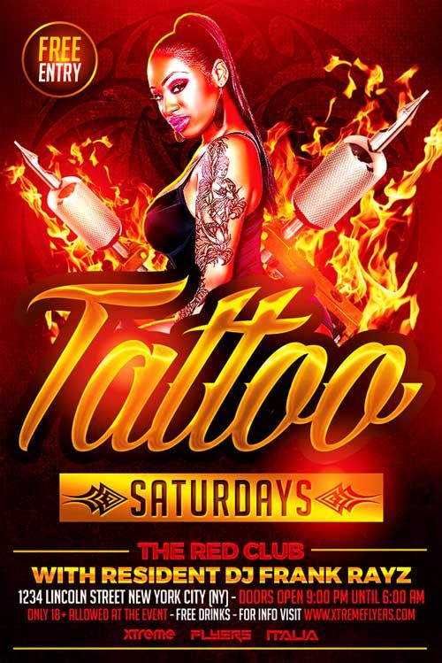 tattoo party flyer template tattoo party. Black Bedroom Furniture Sets. Home Design Ideas