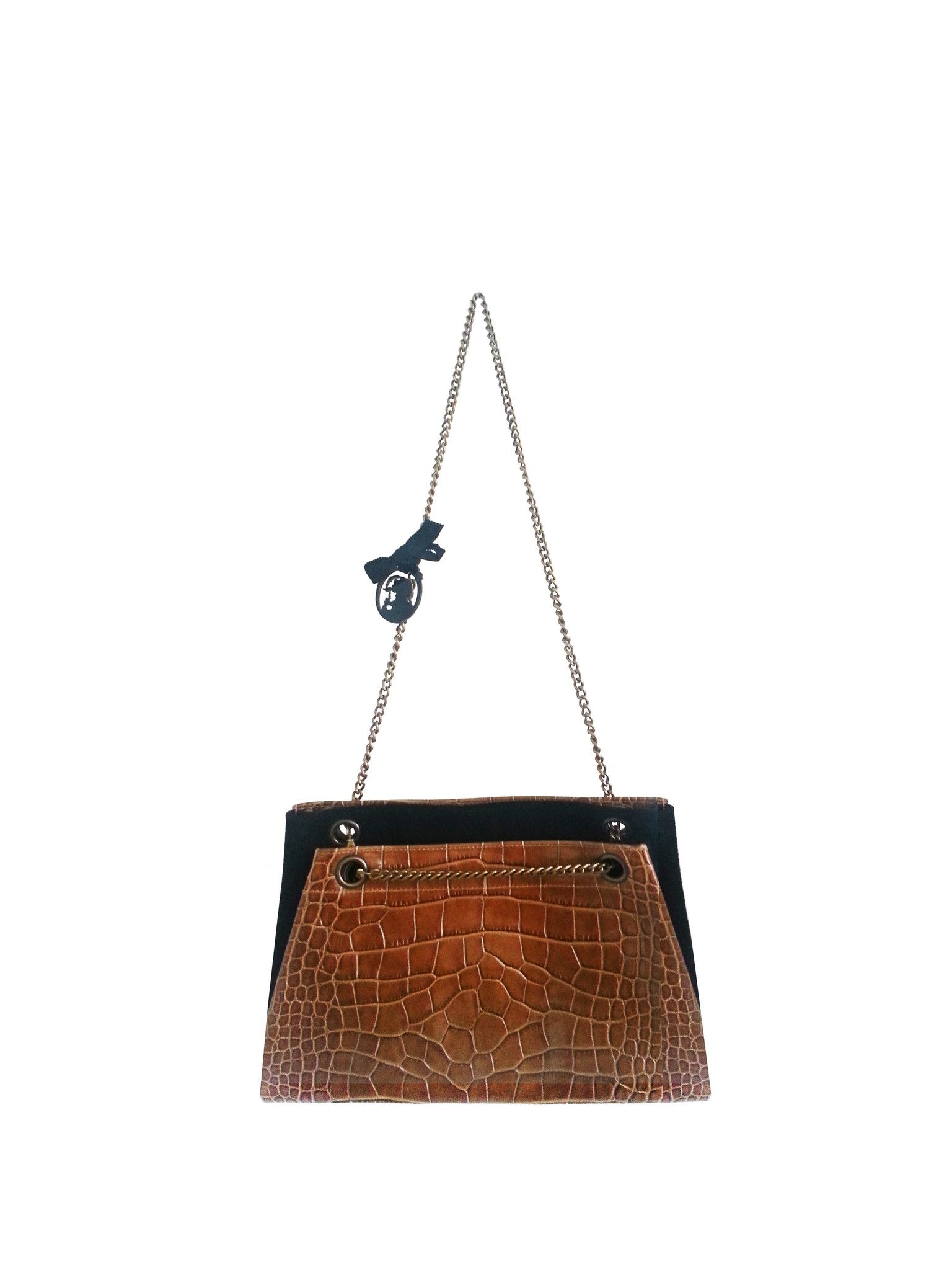 1205 KROK GOLD Mix croco leather&suede fold shoulder bag