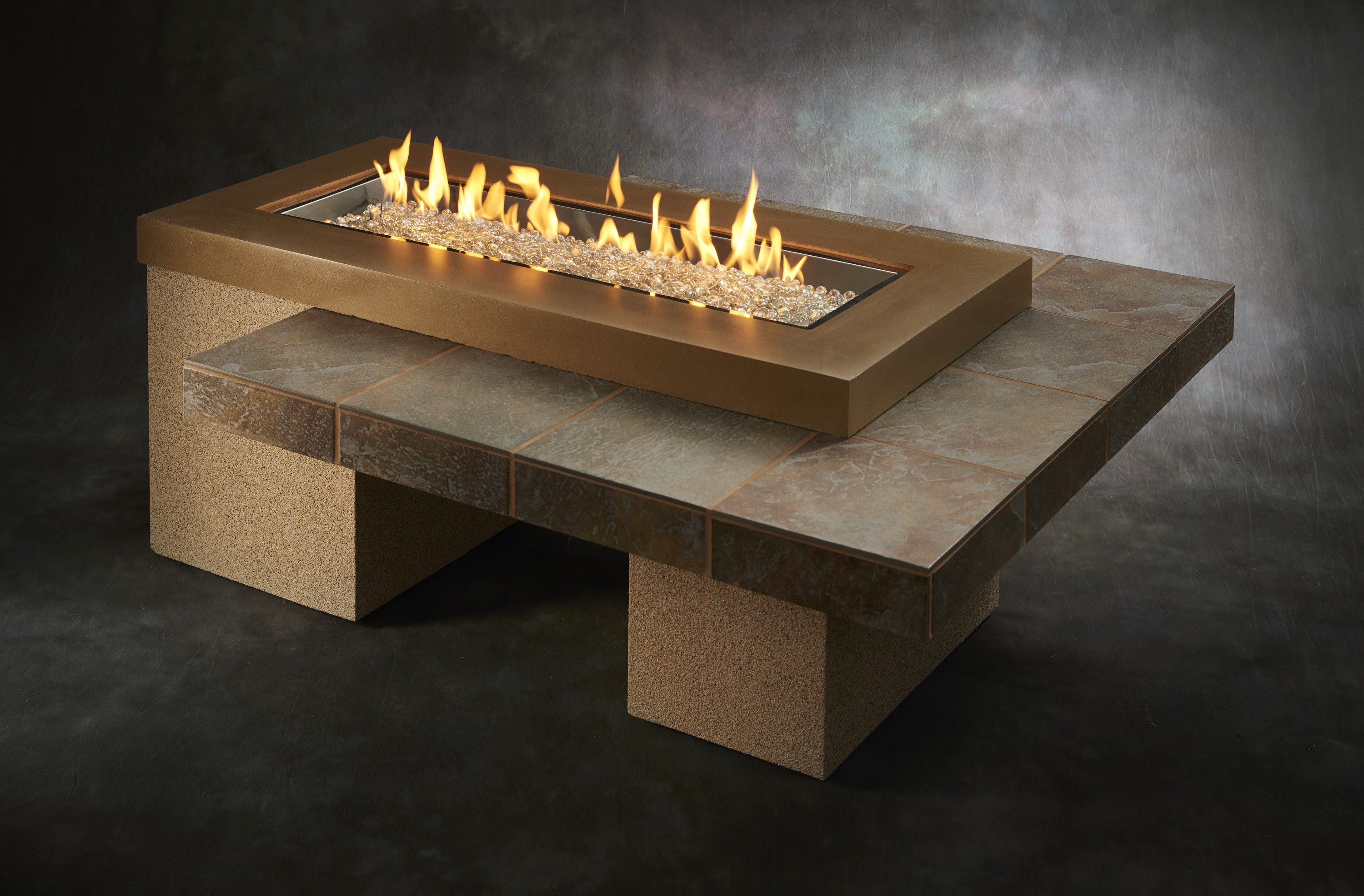 brown uptown linear gas fire pit table fire pit table gas fire
