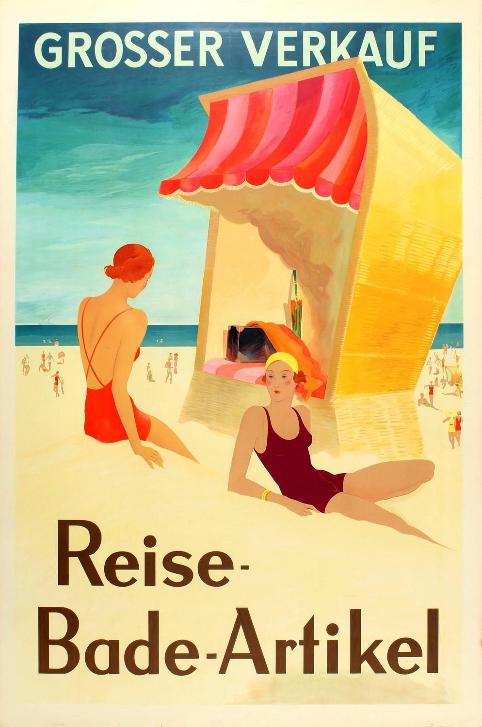 Unknown Original Art Deco Poster For A Big Sale Of Holiday Travel And Swimming Accessories Art Deco Poster Beach Canvas Retro Travel Poster