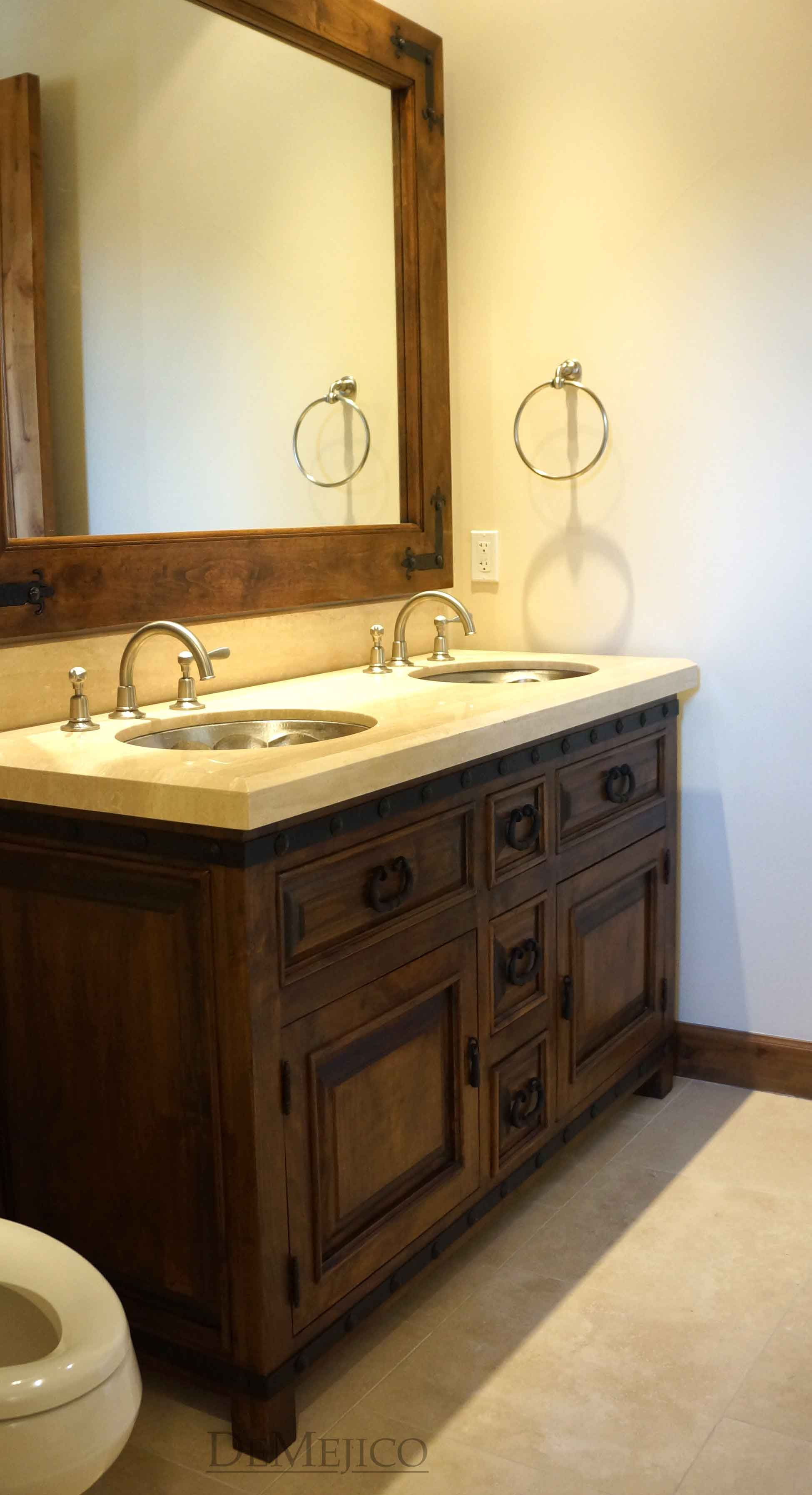 Alamo Style Bathroom Double Sink Vanity And Mirror Hand Carved From Alder Wood With A