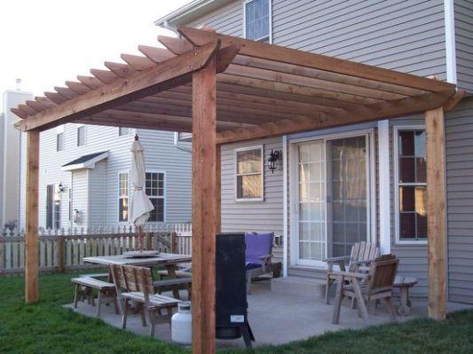 Simple pergola designs woodworking pergola pinterest for Cobertizo de jardin de techo plano de pvc