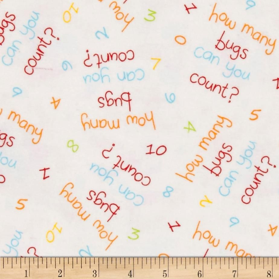 Comfy Flannel Words & Numbers White from @fabricdotcom  This single napped (brushed on face side only) flannel is perfect for quilting and craft projects as well as apparel and home décor accents. Colors include white, green, orange, blue and yellow.