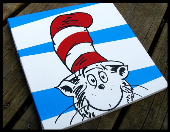 Cat In The Hat 12x12   Dr Seuss Canvas Wall Art