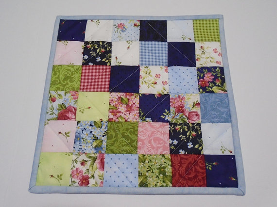 Quilted Table Topper Floral Mini Quilt Patchwork Quilted
