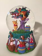 Disney Winnie the Pooh and Tigger Apple Tree Musical Snow Globe