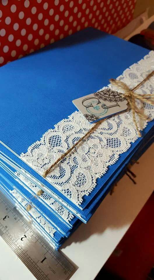 Royal Blue And Lace Handmade Wedding Invitations By Forever Craft Gp