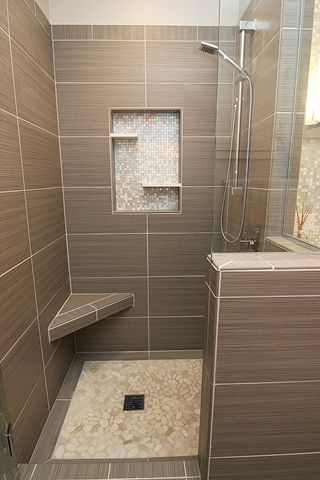 Bathroom Remodeling Yorktown Va shower with mosiac niche, square drain, pebble stone floor, corner