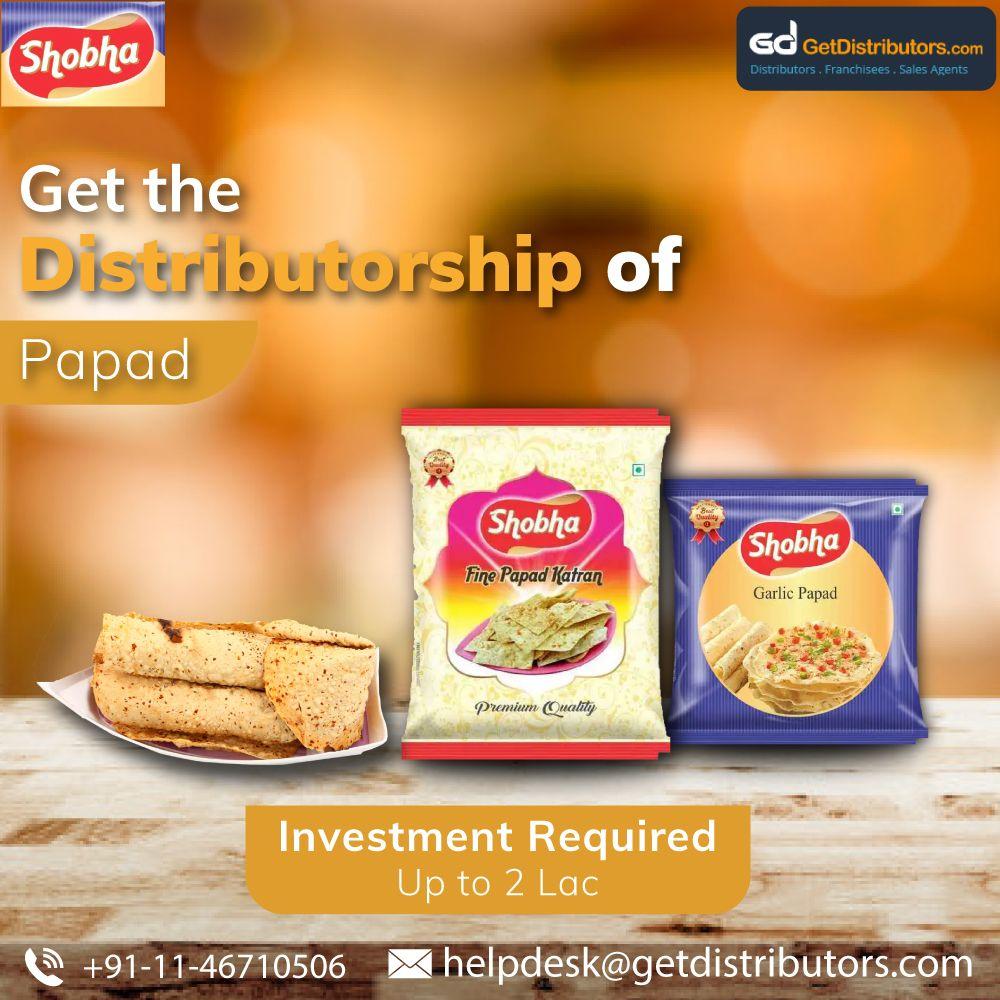 Distributorship of Papad Food and beverage industry
