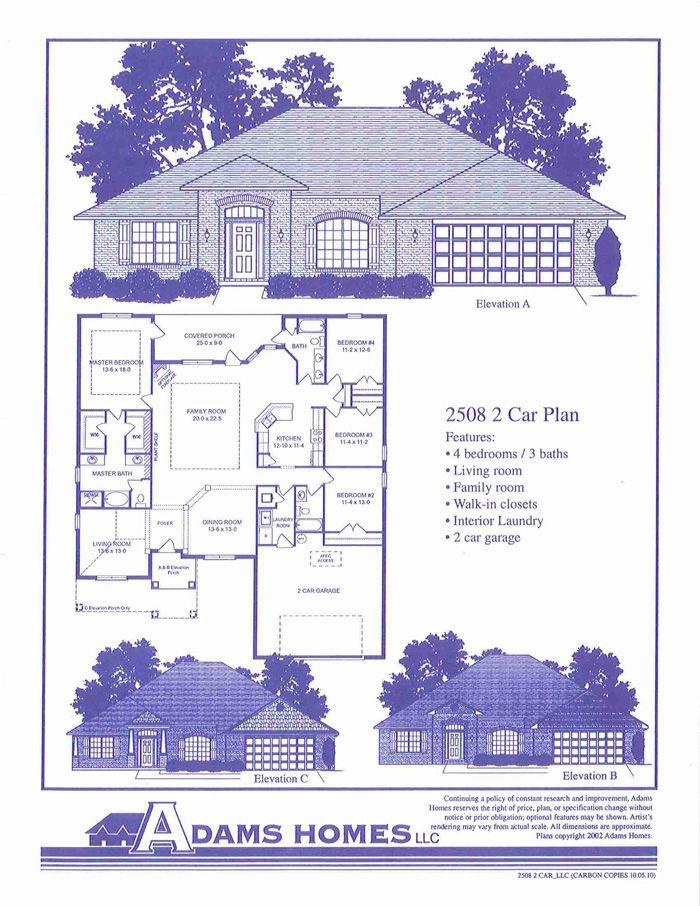 Adams Homes Plan 2508 Will Build For Carriage Park Owens Cross Roads Al Adams Homes House Floor Plans Floor Plans