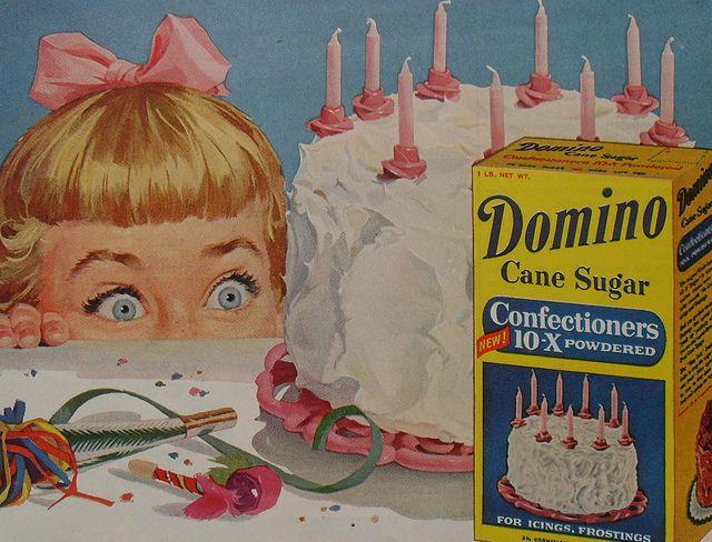 Vintage Domino sugar ad #cake #sugar #vintage #1950s #birthday #pink #cute #Domino #icing_sugar #confectioners_sugar
