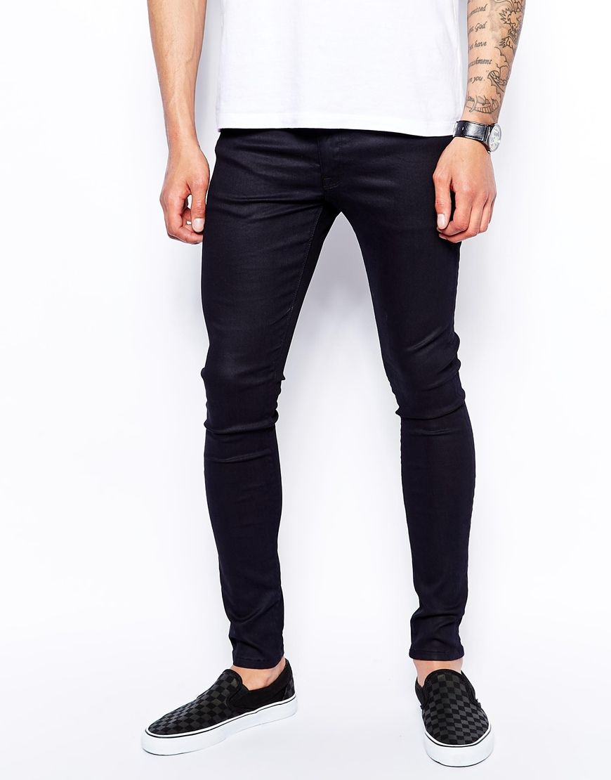 ASOS Extreme Super Skinny Jeans In Coated Black at asos.com