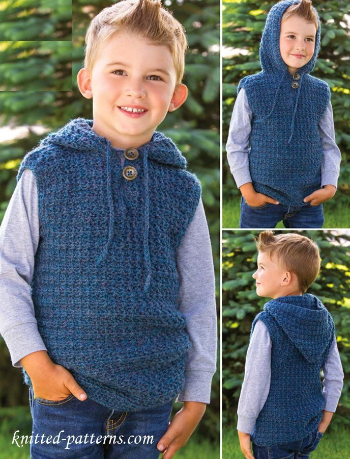 Knitting Pattern Vest Child : Childrens hooded vest crochet pattern free Free knitting patterns Pi...