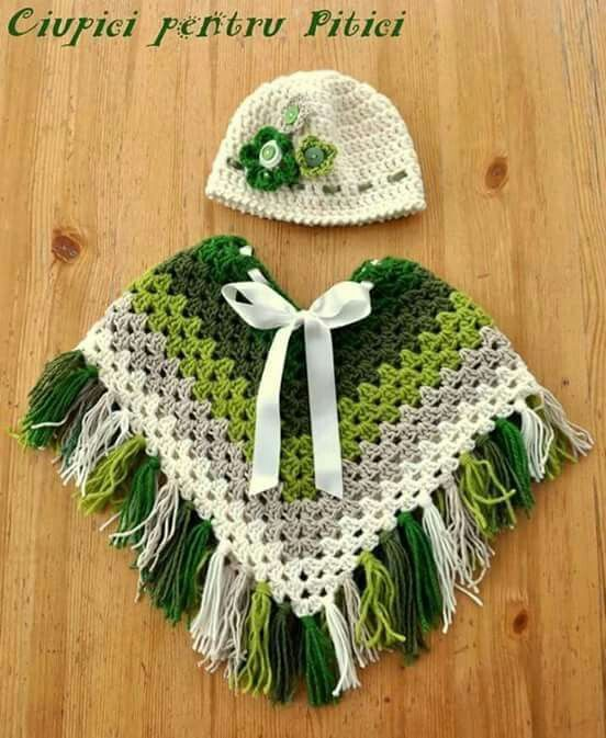 Granny square kids poncho. Crochet pattern. green poncho with ...