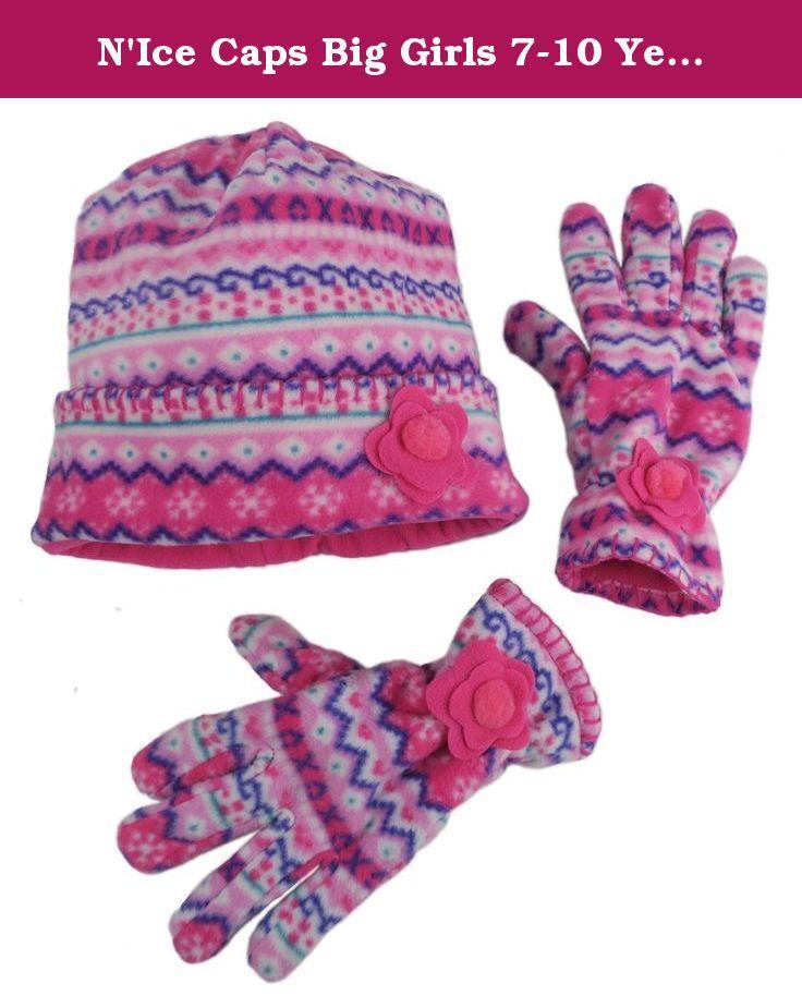 N'Ice Caps Big Girls 7-10 Years Fair Isle Print Hat and Gloves ...