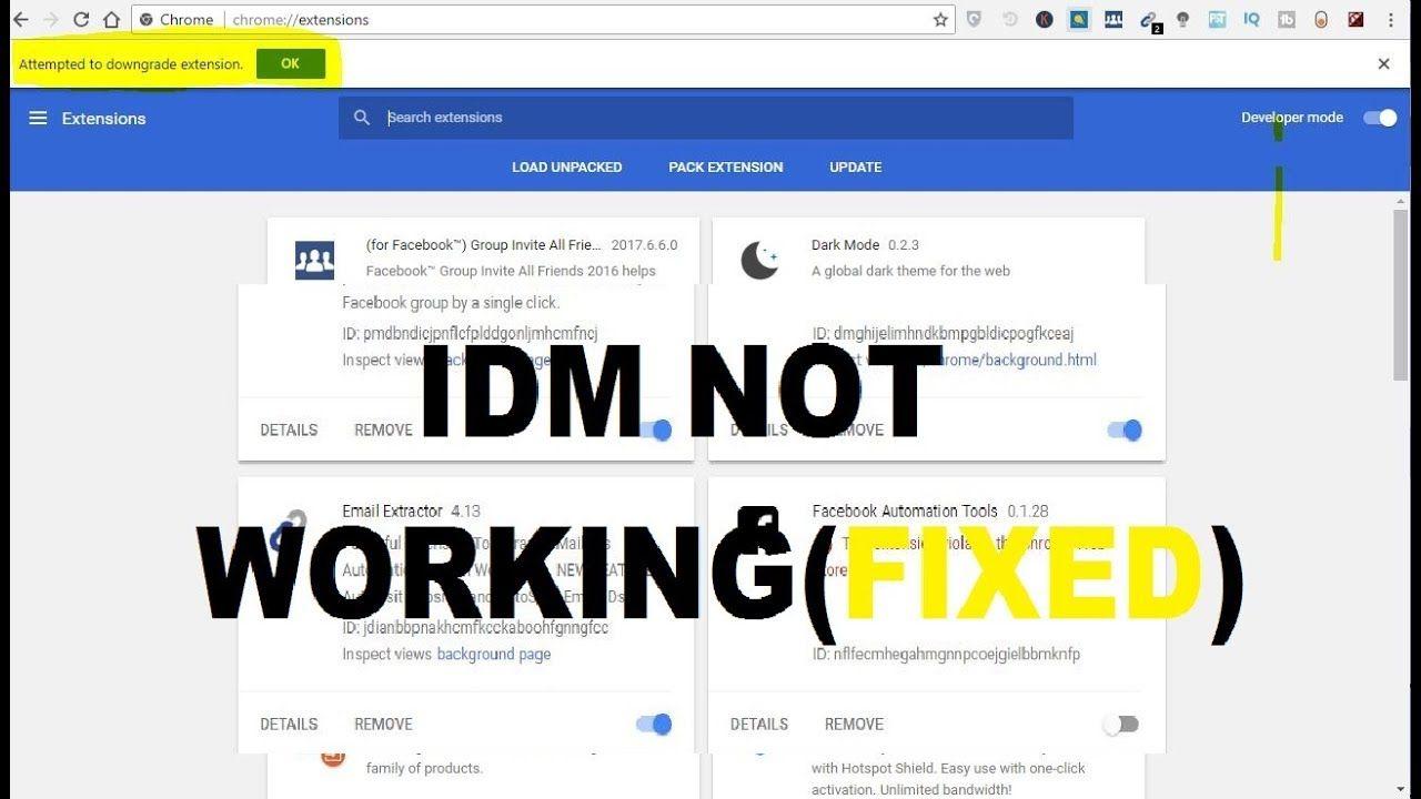 idm extension for google chrome not working ||fix IDM 2018