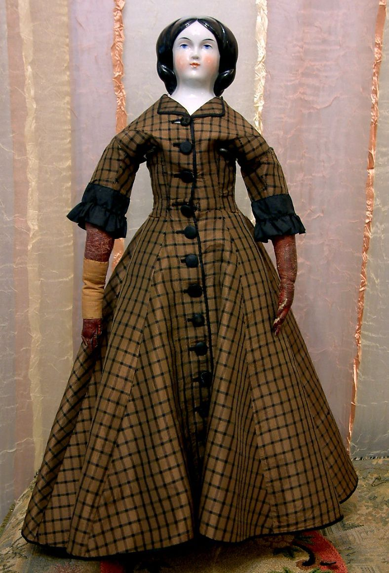 RARE 17 Duchess Clara Antique China Doll With Loose Braids-All Original Silk Gown: RLI-677: Removed