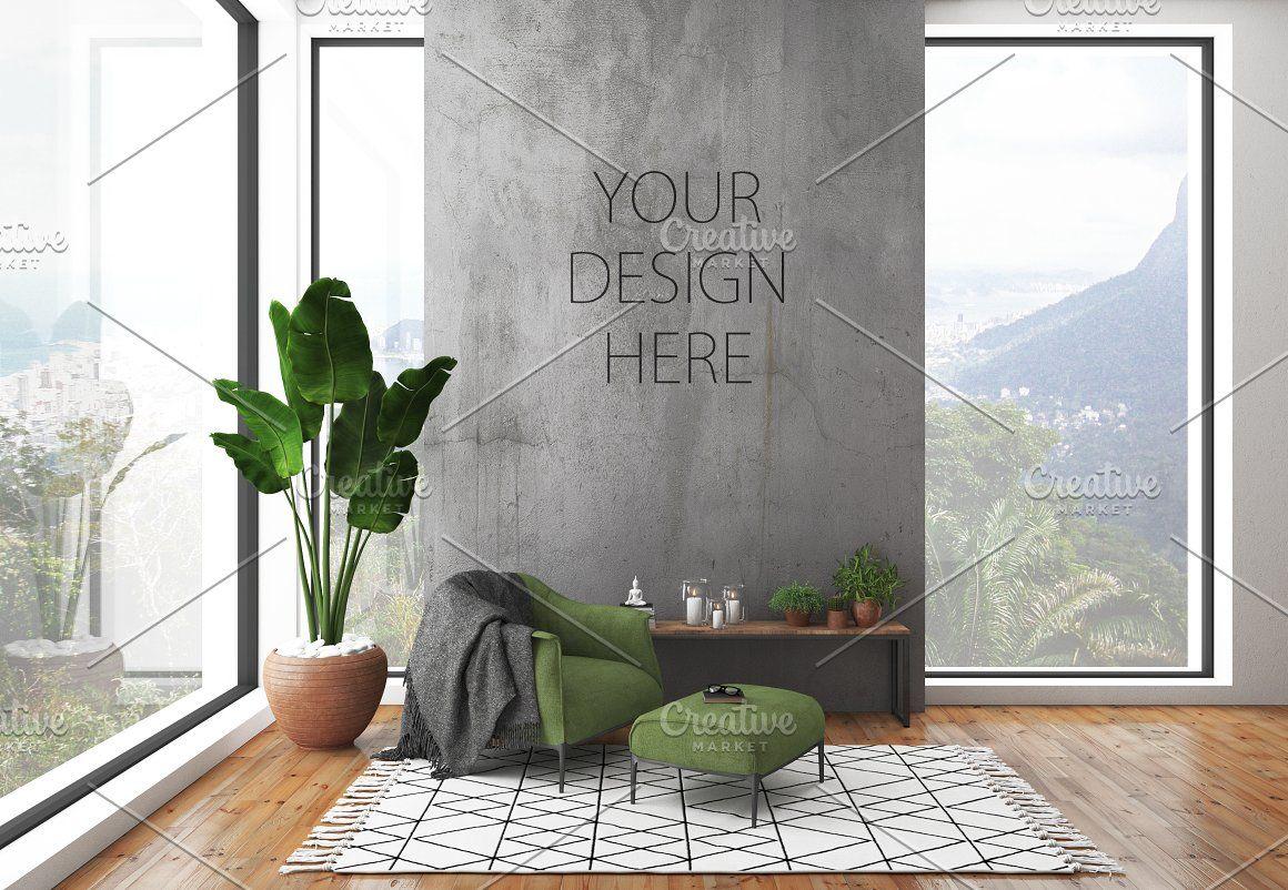 Interior Mockup Frame Mockup Black Framed Art Wall Design Lounge Interiors