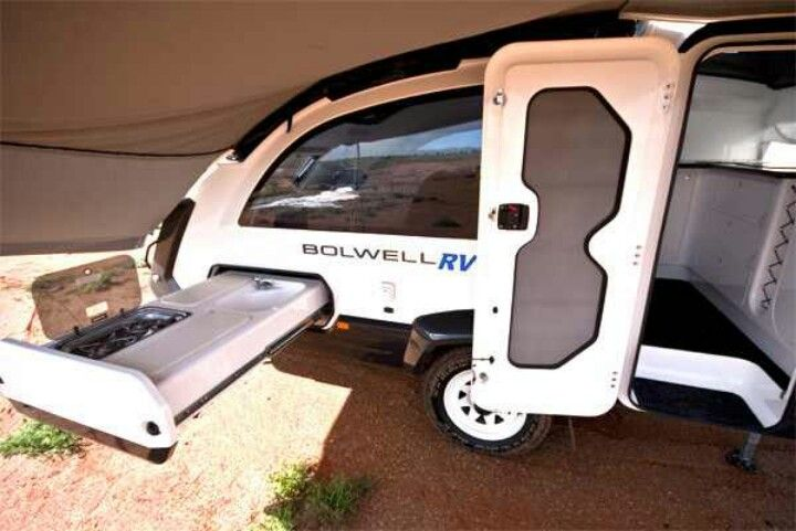The slide-out kitchen  Credit: Bolwell RV | Teardrop camper