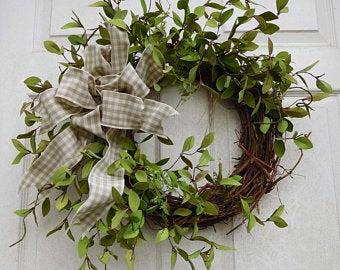 Photo of Red Farmhouse wreath, Farmhouse wreath for front door, Farmhouse door decoration, Farm cow wreath, Farm fresh wreath