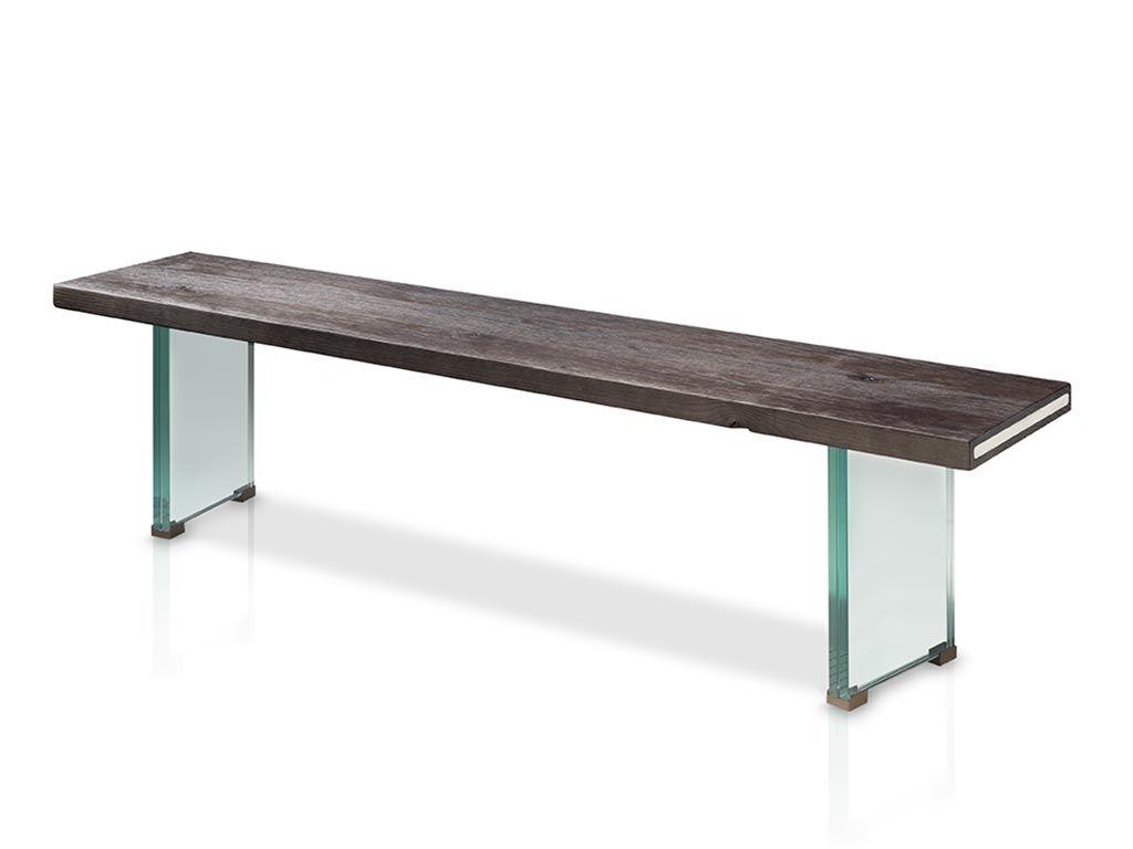 Banco para mesa de comedor con patas de cristal | Banco madera ...