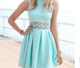 Tiffany Blue Mini Dress Casual