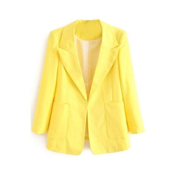 Plain Lapel Single Hidden Button Double Pocket Long Sleeve Blazer ($20) ❤ liked on Polyvore featuring outerwear, jackets, blazers, yellow blazer, yellow jacket, lapel jacket, lapel blazer and long sleeve blazer