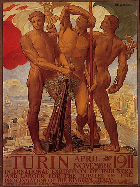1911 TURIN EXIBITION OF INDUSTRY AND LABOR ITALY SIMBOLS VINTAGE POSTER REPRO #Vintage