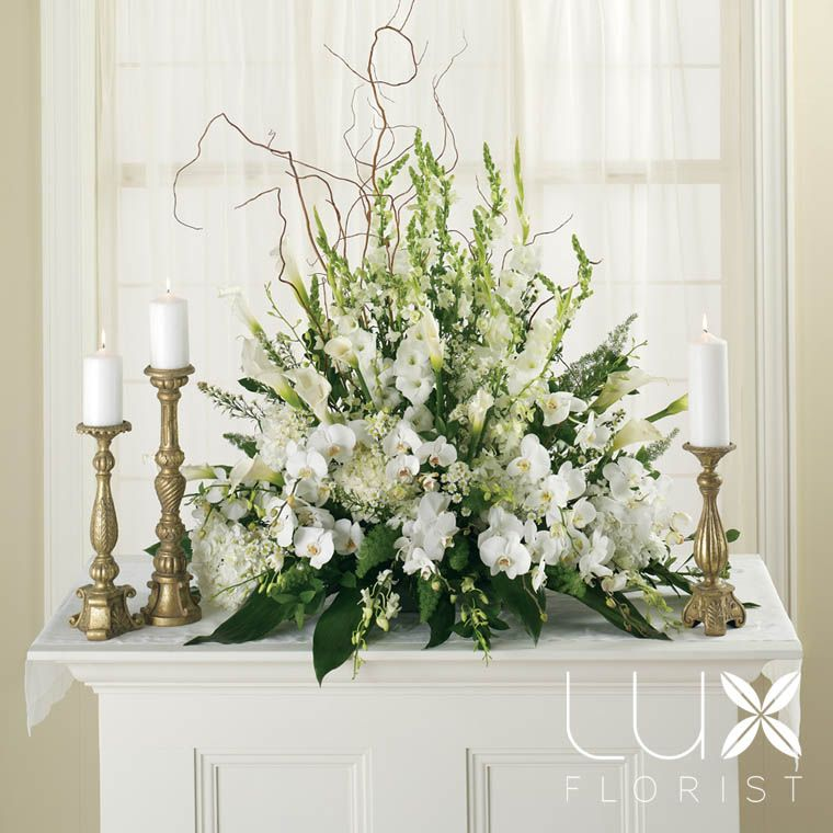 Wedding Flower Arrangements For Church: White Altar Arrangement (BW5-11), Wedding Flowers Phoenix