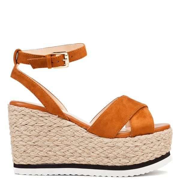e74f6ef738d Tobacco platform with suede texture and crossed bands. Features cleated sole  in white and black