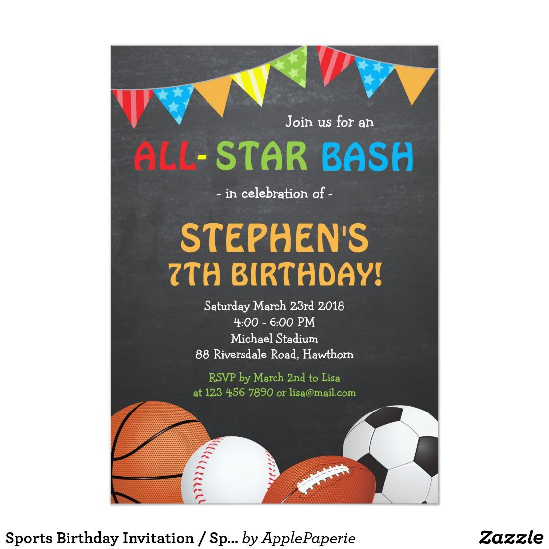 Sports Birthday Invitation Its A Party