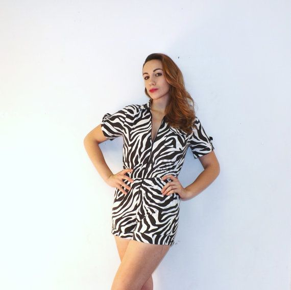 0270a10dc4a Vintage Retro 80s 90s Black White Zebra Print Striped Cotton Romper Summer  Shorts One Piece Size Small Beach Safari Hipster Jumpsuit Luv Ya