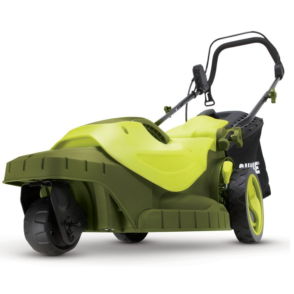 Sun Joe Mj404e 360 Electric Lawn Mower 3 Wheels 16 Inch 12 Amp 360 Degree Turning Radius Push Lawn Mower Sun Joe Lawn Mower