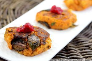 yam and brussel sprout patties! yum! idea for thanksgiving? #buffalobrusselsprou... #buffalobrusselsprouts