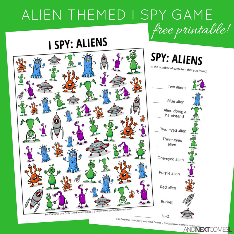 Aliens I Spy Game {Free Printable for Kids} | I spy games ...
