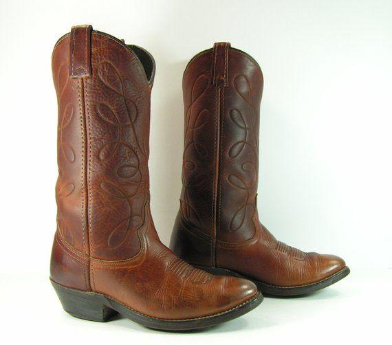 9c3826638521d vintage cowboy boots women's 8.5 M B brown acme leather cowgirl ...