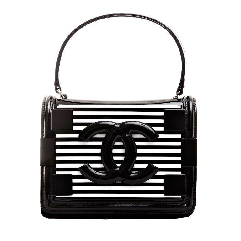 86a8a67ce2a4 Chanel Black and White Striped Patent Boy Brick Crossbody Bag
