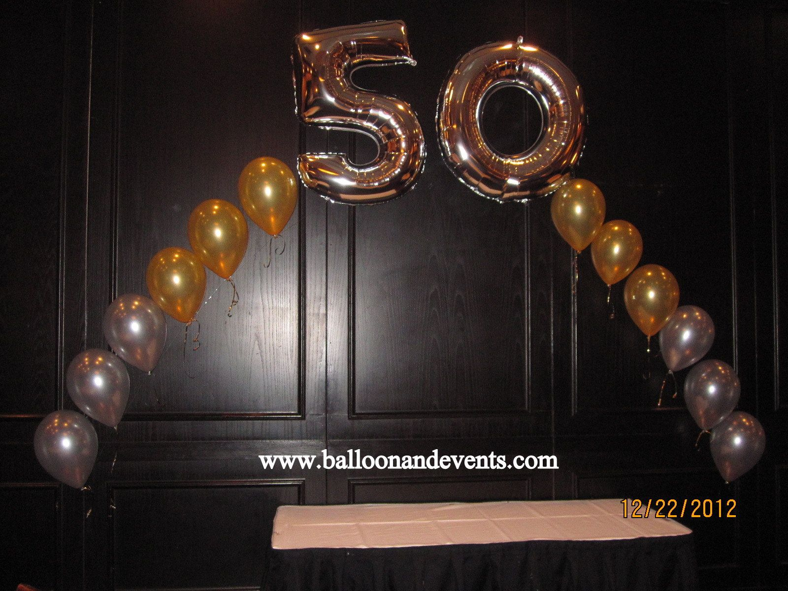 String Of Pearl Arch For A 50th Birthday BalloonArch50