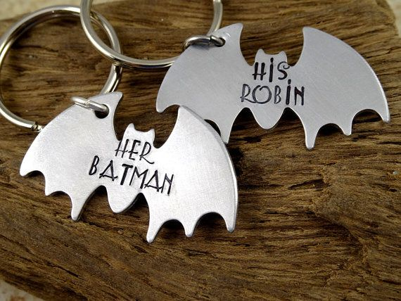 Her Batman His Robin Key Chain Set Hand Stamped by RoseCreekToo